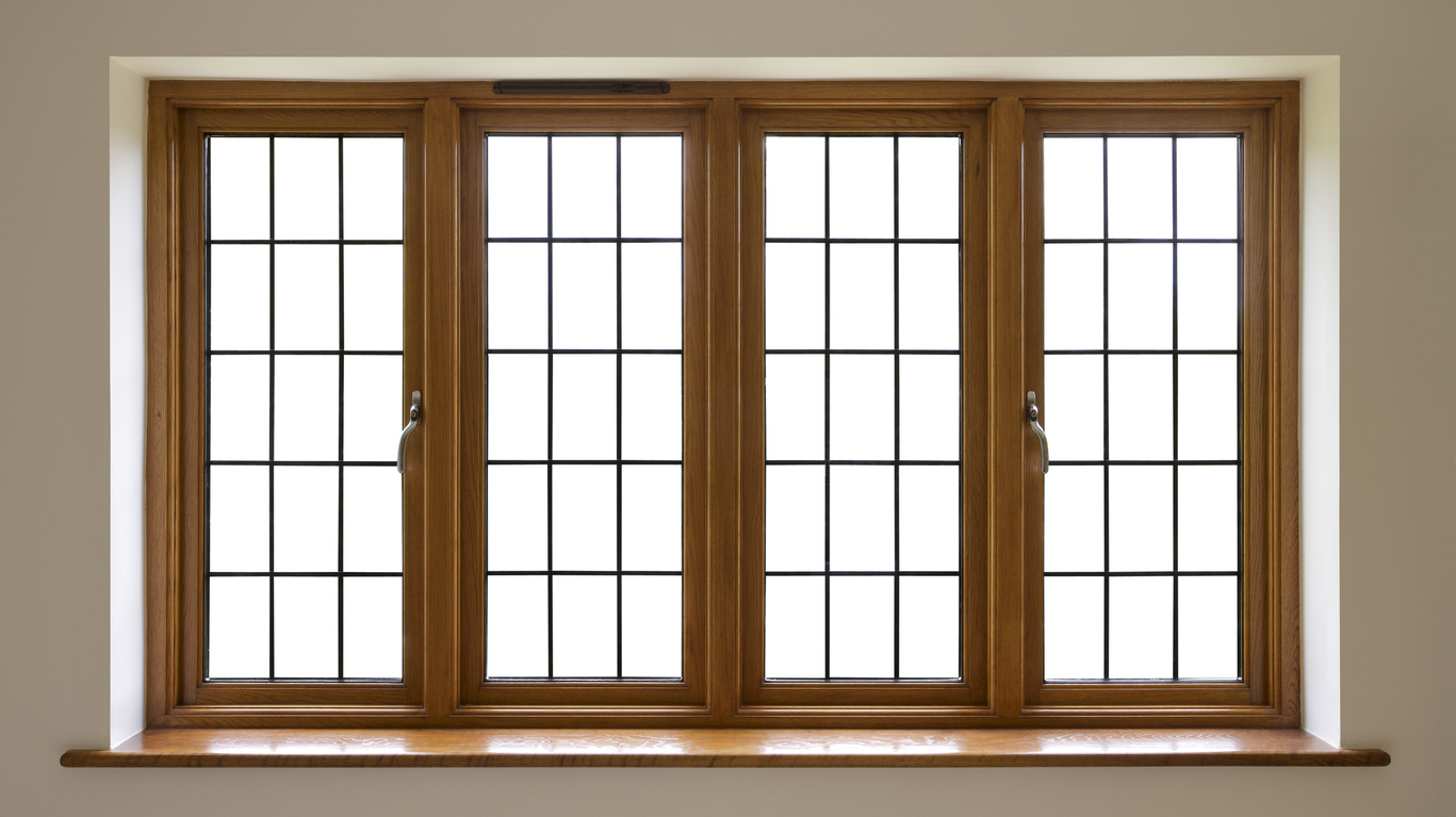 Mahogany leaded glass windows